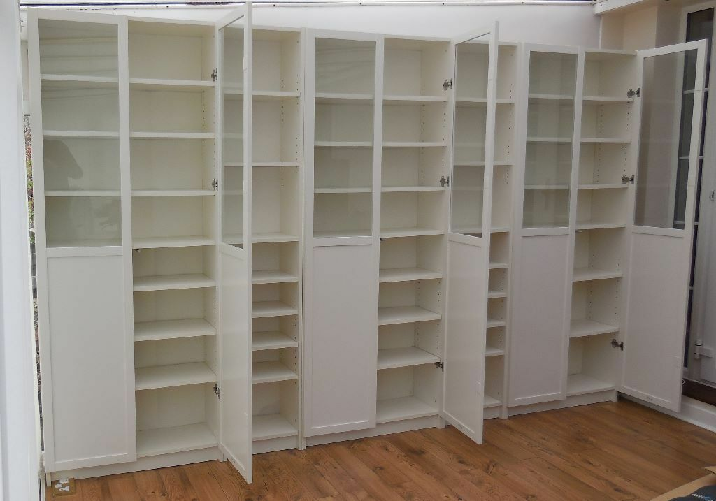 Ikea White Billy Bookcases with White PanelGlass Oxberg  : 86 from www.gumtree.com size 1024 x 717 jpeg 71kB
