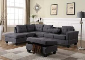 BRAND NEW DIANE FABRIC SECTIONAL SOFA AT WHOLESALE PRICE WITH FREE OTTOMON(OPTION TO PAY ON DELIVERY)