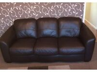 2 Seater & 3 Seater Brown Leather Sofas/Glass Table & Chairs/Wooden Double Bed/Metal Double