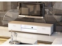 Slim Low Rise Painted Wood Effect TV Stand with LED light for TV sizes 32 to 70 inches