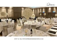 Wedding Decor, Flowerwall, Lights, Backdrop, Chiavari Chair, Throne Chair, Table Linen, Chair Covers