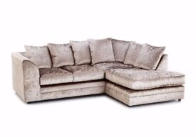 ❋★❋ STOCK CLEARANCE ❋★❋ CRUSHED VELVET FABRIC SOFA - DYLAN 3+2 / CORNER SUITE IN BLACK/ SILVER