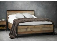 RUSTIC, WEATHERED, VINTAGE, NATURAL GRAIN, WOODEN BED, DOUBLE, KINGSIZE, QUALITY, MATTRESS.