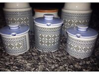 HORNSEA Tapestry 6 pieces -TEA, COFFEE & SUGAR canisters plus 3 condiment jars - excellent condition