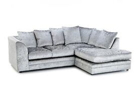 ** EXPRESS DELIVERY** BRAND NEW JULIE CRUSH VELVET CORNER SOFA ON SPECIAL OFFER
