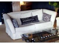 Knole style Cream 3 seater sofa, Drop arms.