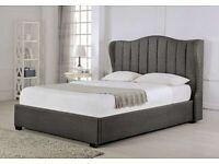 WINGBACK BED - FRAME BED IN GREY PLUSH VELVET -OTTOMAN FRAME BED - LINNING HEADBAORD
