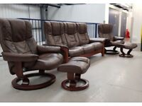 Ekornes Stressless Brown Leather 3 seater reclining settee and 2 recliner chairs and 2 footstools