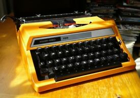 Typewriter. Vintage 70s Silver Reed 100 in vibrant orange. Mint con, fully working with snap oncover