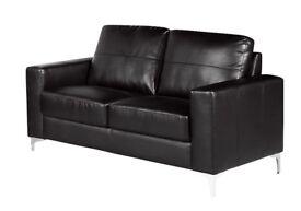 MODERN SOFA BLACK/BROWN 3+2 CHROME LEGS