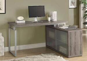 """MEUBEL.CA $279 -  """"L"""" SHAPED DESK / FROSTED GLASS --- Free Delivery !"""