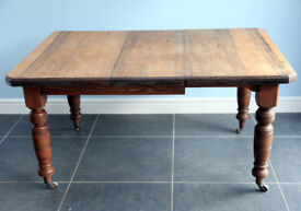 ANTIQUE VICTORIAN KITCHEN TABLE SOLID OAK LEGS & POPLAR/PINE TOP with JOSEPH FITTER SCREW EXPANDER