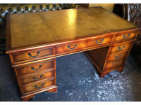 Pedestal desk with tan leather inlaid top