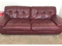 Red leather 3-seater sofa (DFS)