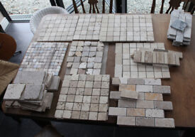 ASSORTED GREY, BEIGE & YELLOW TRAVERTINE TILES & SOME MARBLE VARIOUS SIZES
