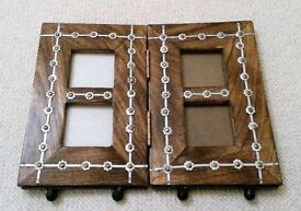 NEW LARGE PHOTO FRAME Fold up Heavy Solid Natural Wood Brass Silver Metal Iron Base Picture Painting