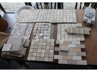 A ASSORTED GREY, BEIGE & YELLOW TRAVERTINE TILES & SOME MARBLE VARIOUS SIZES