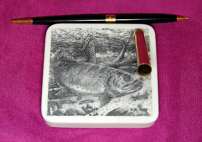 Wildlife Fish Etched Montana Marble Desk Pen Holder Set