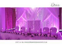 Wedding Deco, Chair Cover, Flowerwall, LED Backdrop, Chiavari Hire, Throne Chair, Light, Table Linen