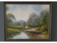 Painting Oil on Canvas River landscape kids playing. Unsigned