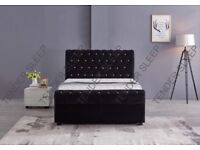 BEST SELLING BRAND - BRAND NEW SLEIGH OTTOMAN STORAGE FABRIC VELVET DOUBLE BED & MATTRESS