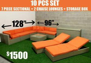 10 Piece Patio Furniture Sectional Set - 2 Chaise Lounges & Storage Box Included!