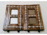 NEW Large Fold up Heavy Photo Frame Solid Natural Wood Brass Silver Metal Iron Base Picture Frame