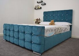 4FT6 Double Chenille Fabric Upholstered Bed Frame In Teal Colour