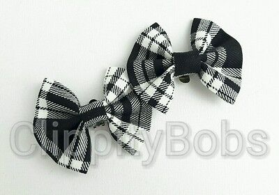 LADIES GIRLS HANDMADE BLACK & WHITE TARTAN CHECK SOFT FABRIC SHOE CLIPS BOW