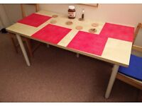 Simple dining/office table 150x75cm, IKEA birch effect, 5 white legs