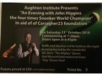 JOHN HIGGINS charity snooker exhibition night Aughton 13th October 2018