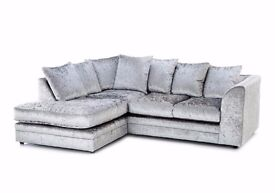 **LIMITED OFFER GUARANTEED PRICE**SILVER BRAND NEW DYLAN CRUSH VELVET CORNER OR 3+2 SOFA