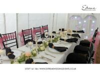 Wedding Decor, Chair Cover, Flowerwall, Stage Backdrop, Chiavari Hire, Throne, Light, Table Linen