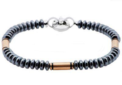 NWT $74.99 BLACKJACK Gunmetal + Rose Plated Stainless Steel Disk Link Bracelet (Gunmetal Link Bracelet)