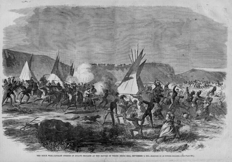 SIOUX INDIAN WAR BATTLE OF WHITE STONE HILL 1863 SULLY