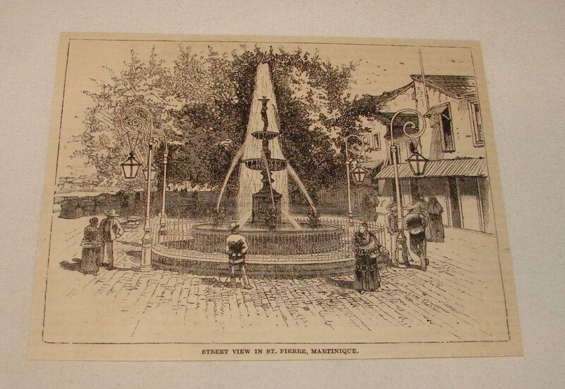 1885 magazine engraving ~ STREET VIEW, St. Pierre, Martinique