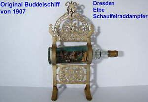 ANTIKES BUDDELSCHIFF von 1907 RADDAMPFER DRESDEN ELBE ORIGINAL mit STÄNDER