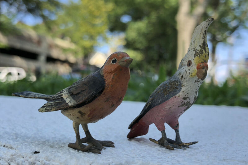 Pair Of Realistic Antique Austria Vienna Bronze Birds Magnificent Details