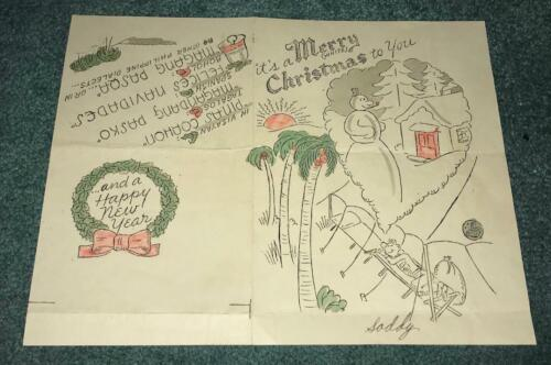 Original WWII 5th Air Force Christmas Paper Greeting Card From The Philippines