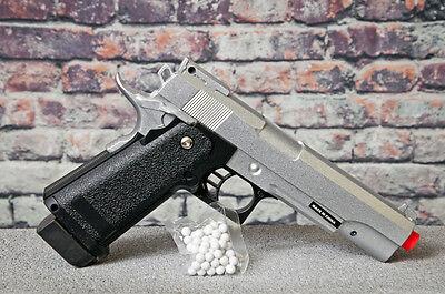 M1911 Metal Barrel Replica Handgun Silver Airsoft Spring Pistol