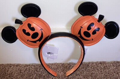 2020 Disney Parks Halloween Mickey Mouse Jack-o'-Lantern Pumpkin Ears Headband