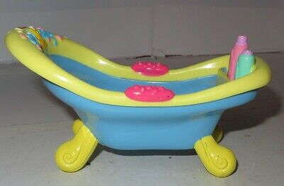Fisher Price Snap 'N Style Babies Bathtime Doll Bath Tub Yellow Blue Used Toy -