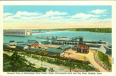 Keokuk  Ia The Mississippi River Power Plant 1951