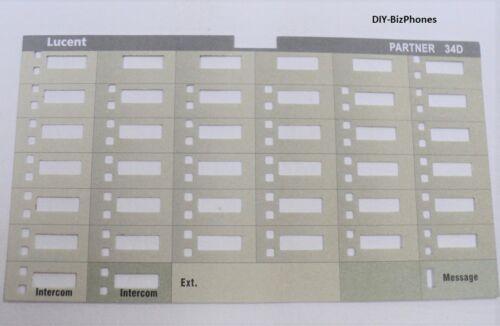 Lot of 5 AT&T Avaya Lucent Partner 34D Euro Series Phone Paper Desi Label Strip