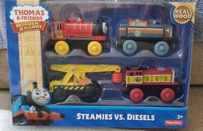 Thomas the Train & Friends Steamies vs Diesels Set (4 Trains) Real Wood NEW IN B