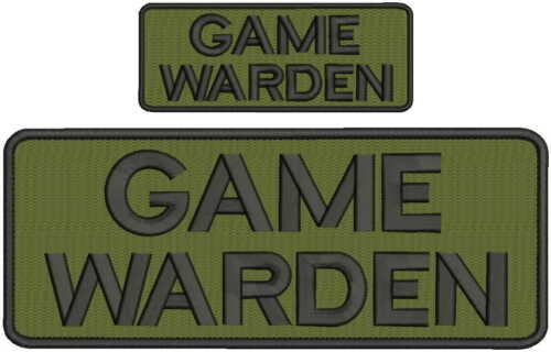 """""""Game Warden"""" embroidery patch 4x10 and 2x5 hook OD green and black"""
