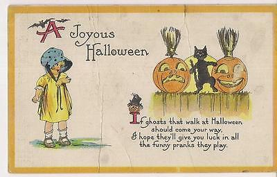 Joyous Halloween Ghost Prank Poem Jack O Lantern Black Cat Antique 1918 Postcard