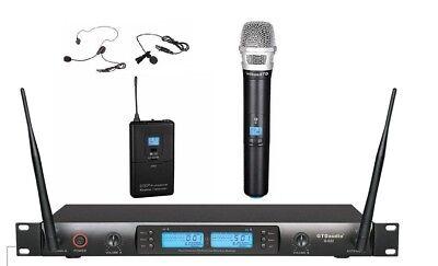 2 Channel Wireless Headset (2x100 Channel UHF Wireless Lapel Headset Lavalier Microphone System 622HL )
