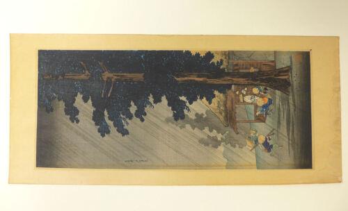 Takahashi Shotei Shower at Takaido  Shin Hanga Japanese Woodblock Print