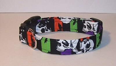 Wet Nose Designs Goth Halloween Skulls Dog Collar Purple Orange Lime Striped Bat (Halloween Skulls Designs)